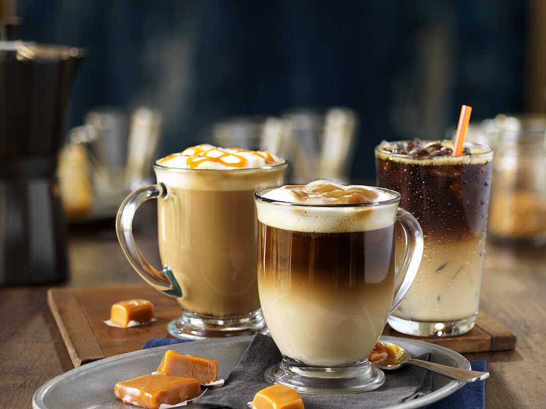 Three different coffee drinks
