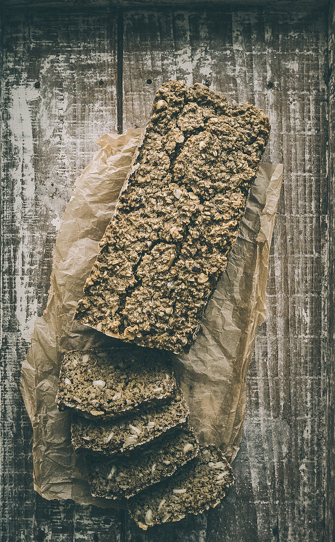 Homemade oat bread with walnuts
