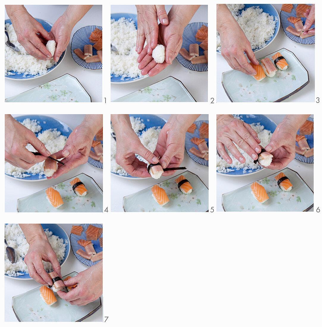 Nigiri-Sushi mit Räucherlachs und Aal zubereiten