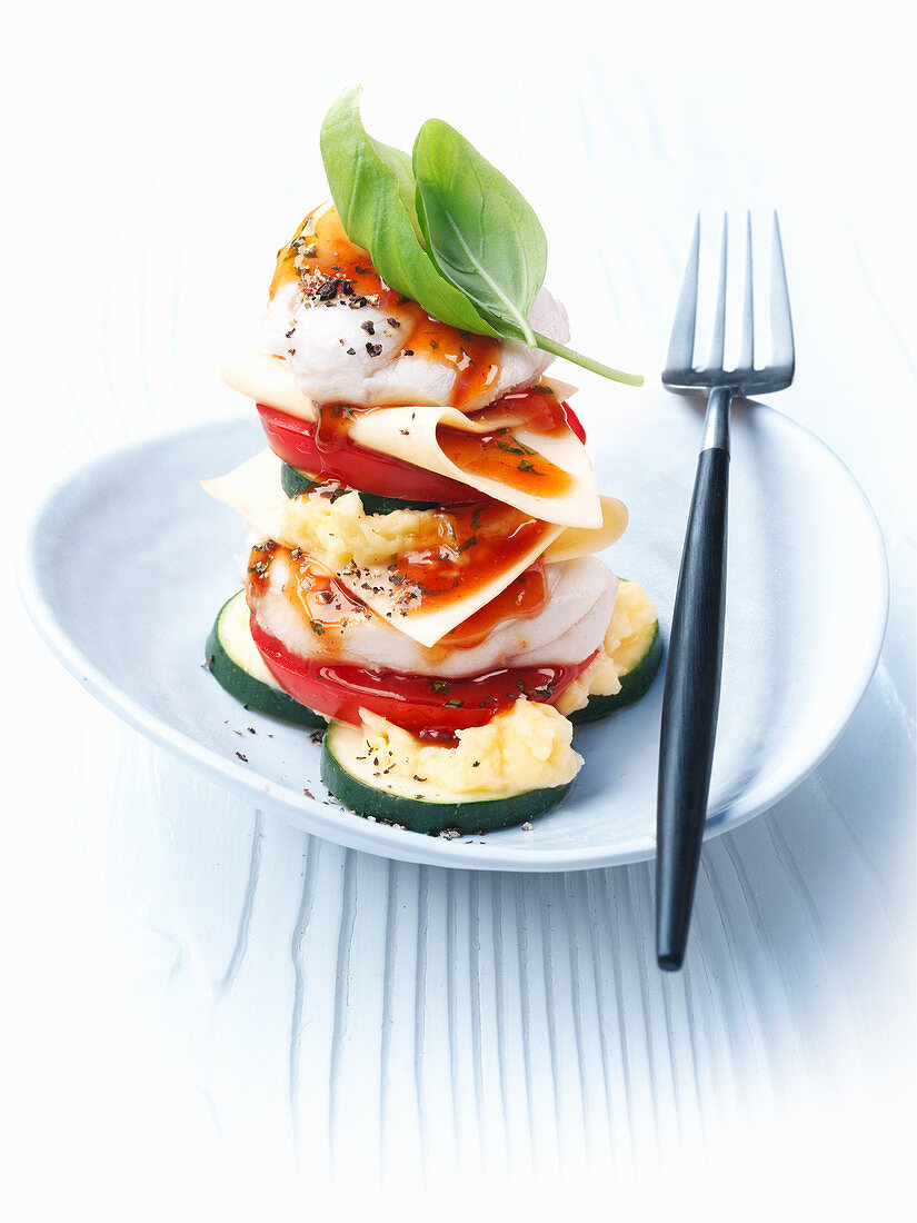 Monkfish and pasta tower with tomato butter