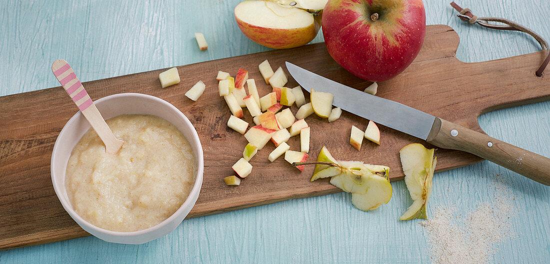 Apple and grain porridge