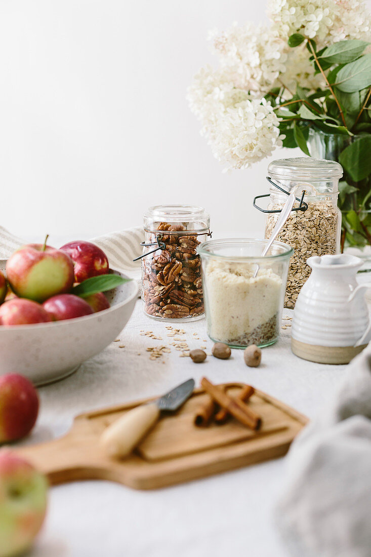 Ingredients for apple crumble