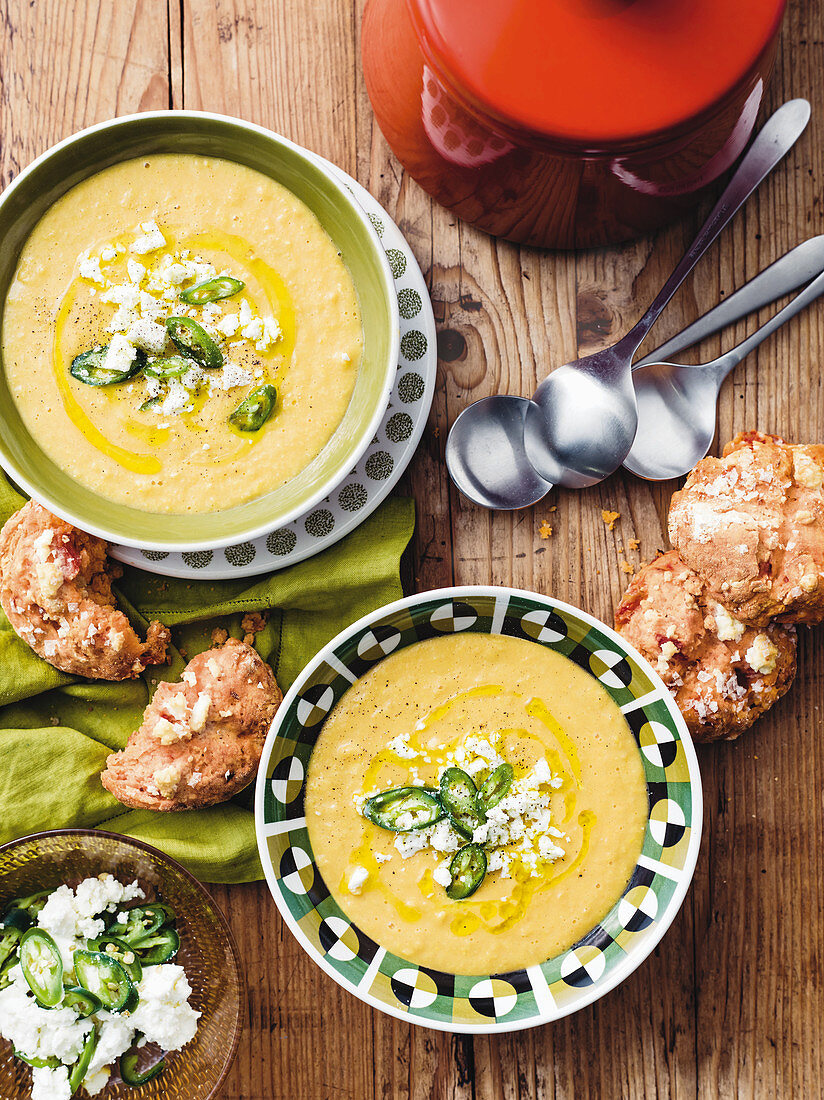 Corn and split pea soup with fetta and tomato damper