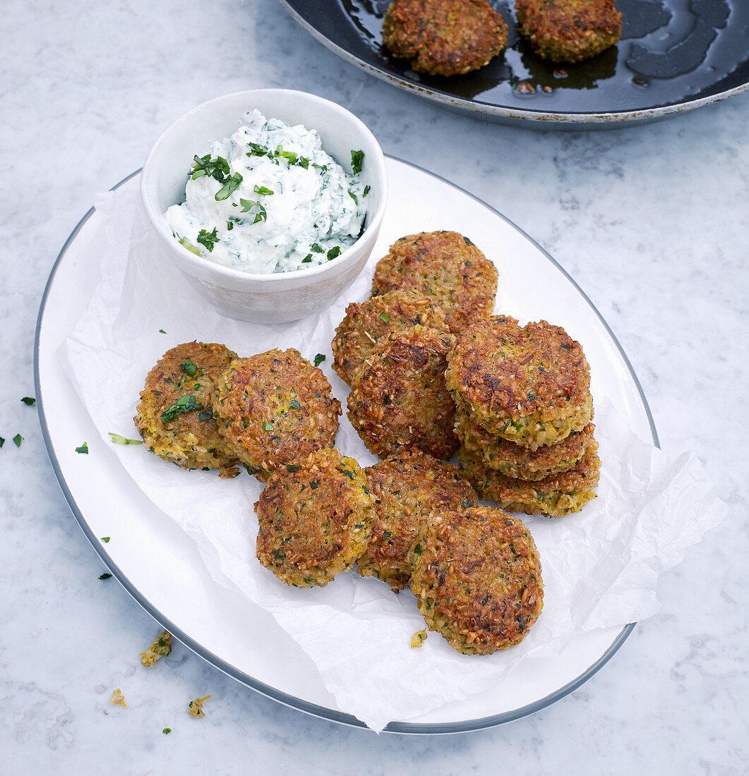 Vegetarian freekeh fritters with herb quark