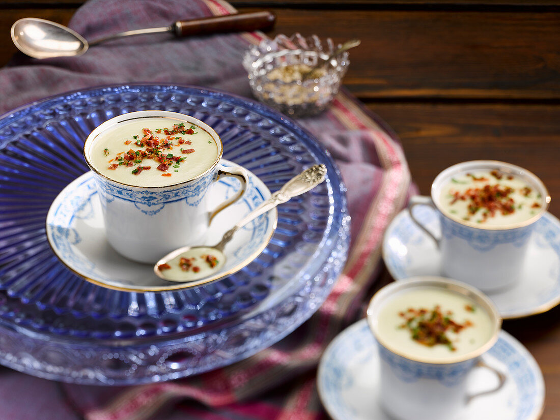 Onion veloute in vintage teacups