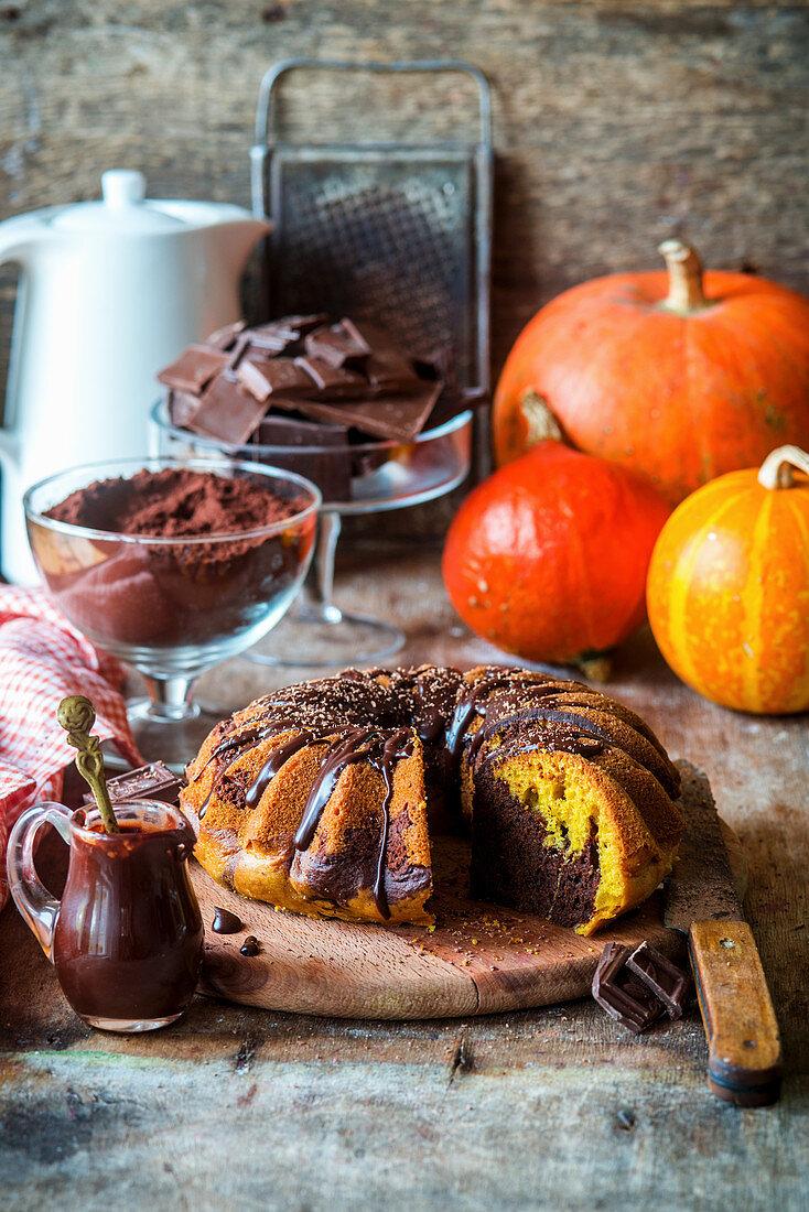 Pumpkin and chocolate cake, sliced