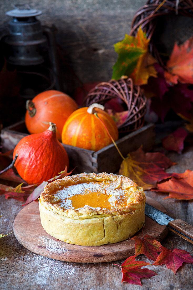 Pumpkin Pie mit Puderzucker
