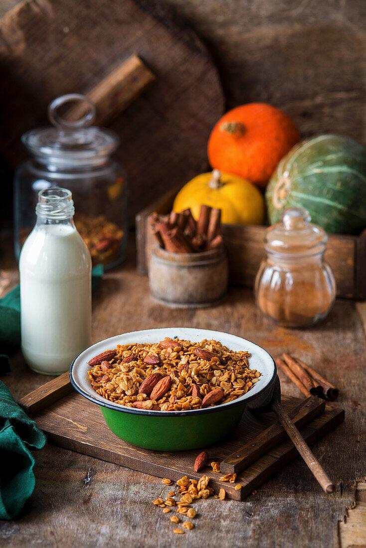 Pumpkin muesli with nuts and cinnamon