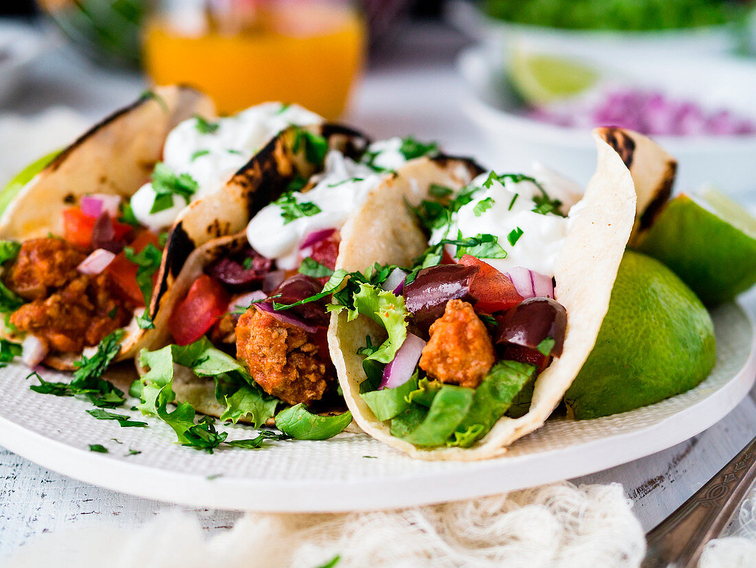 Plate of ground turkey tacos