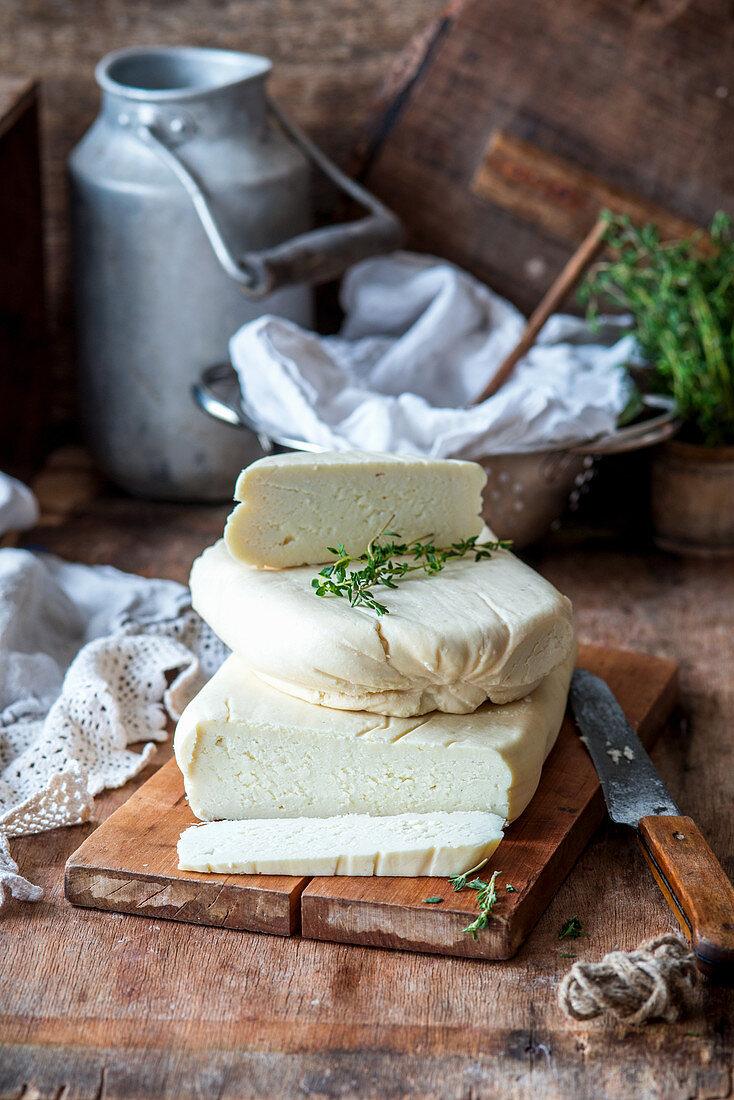 Homemade goat's cheese