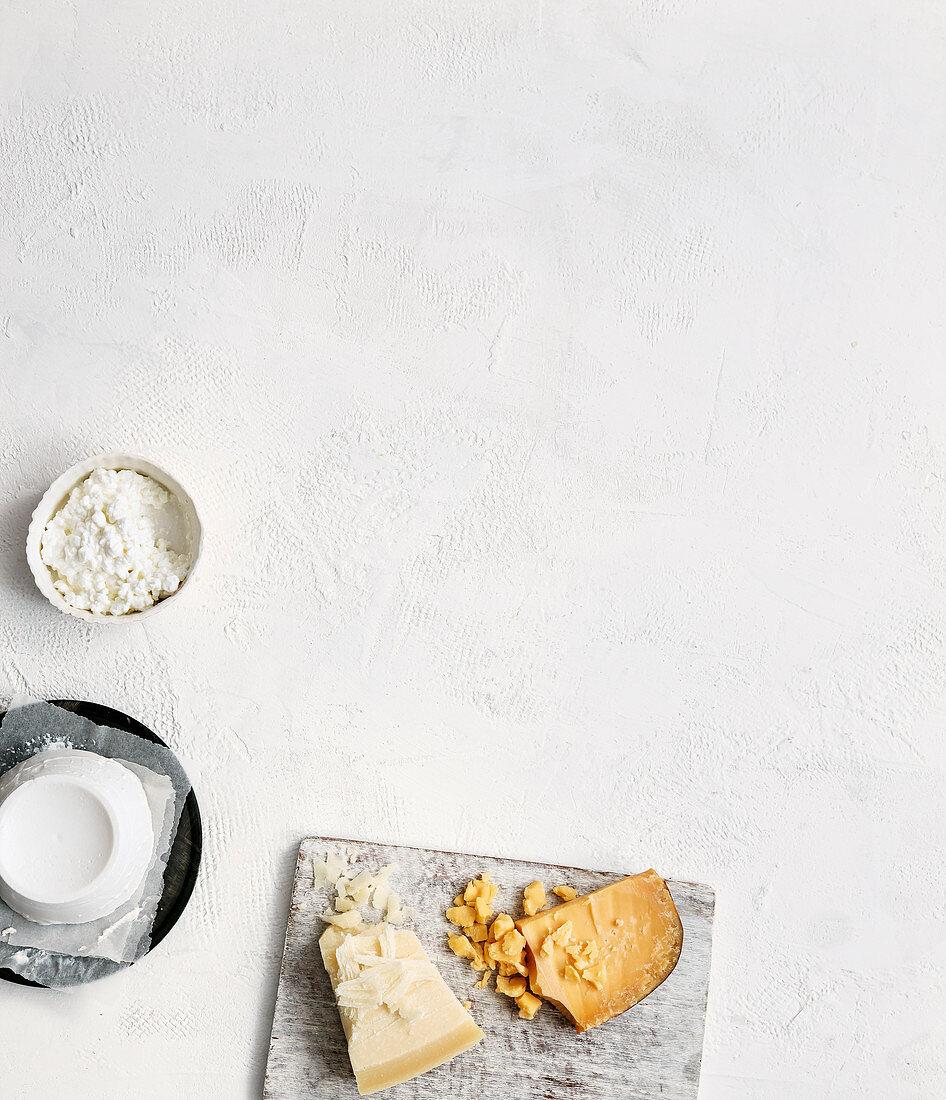 Various hard cheese, cream cheese and quark