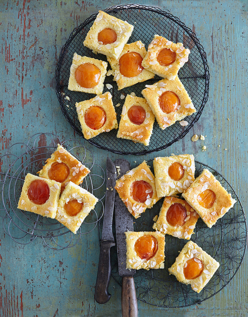 Coconut cream tray bake cake with apricots
