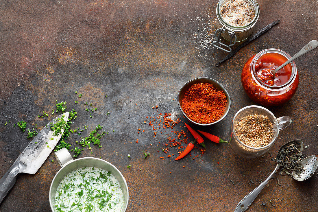 Grilling spices, tomato and chilli oil, and a herb buttermilk marinade