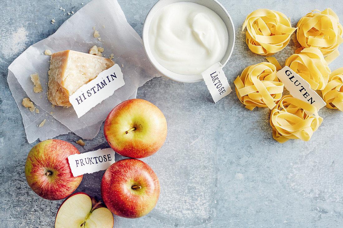 Lebensmittelgruppen: Fruktose, Histamin, Laktose und Gluten