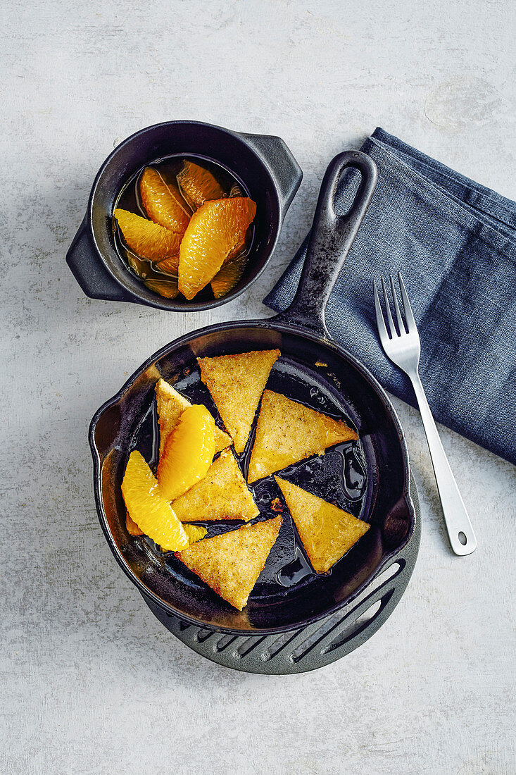 Fried polenta slices with orange compote