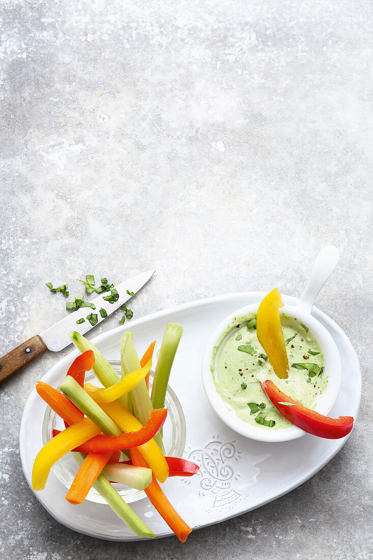 Vegetables sticks with herb mayonnaise