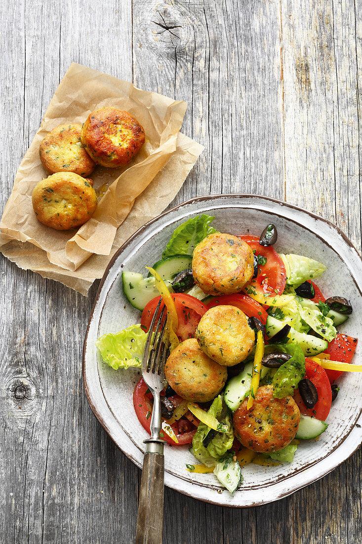 Greek salad with falafel