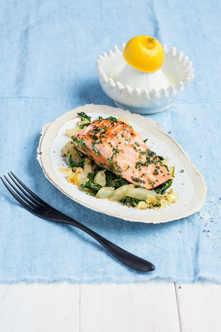 Herb salmon with steamed chard