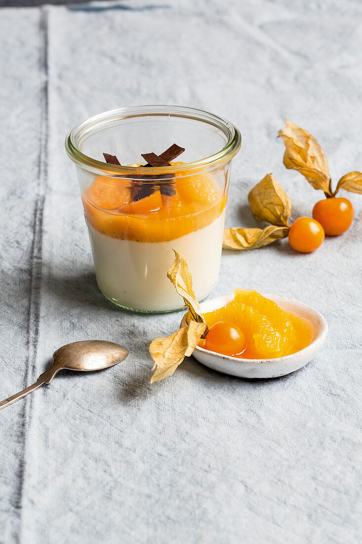 Orange and physalis compote with sour milk