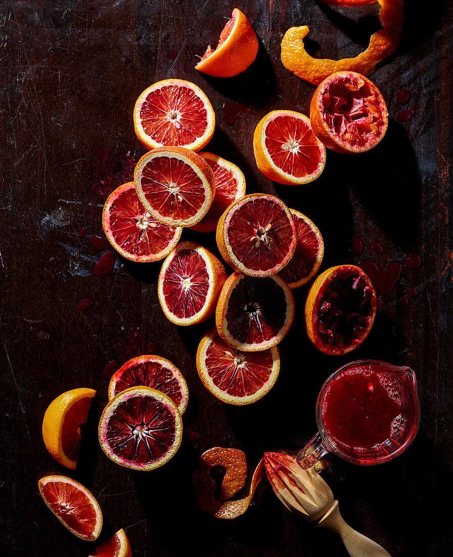 Still life of blood oranges
