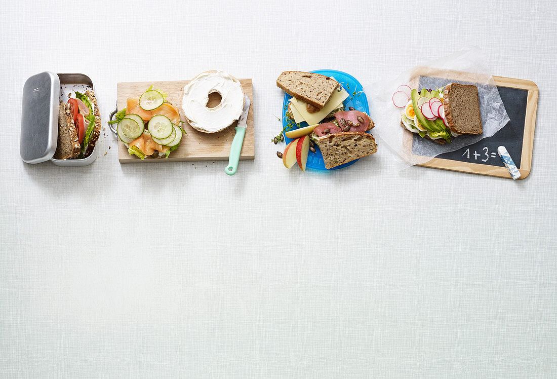 Four quick sandwiches for breaktime snacks