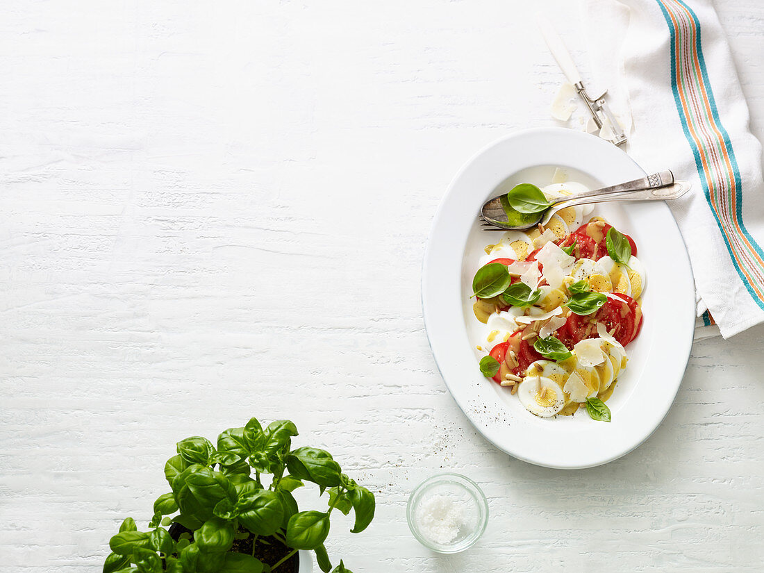 Caprese with a twist – with a hard-boiled egg and Parmesan