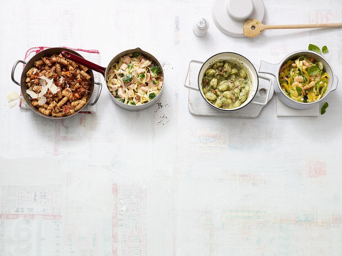 One pot pasta four ways