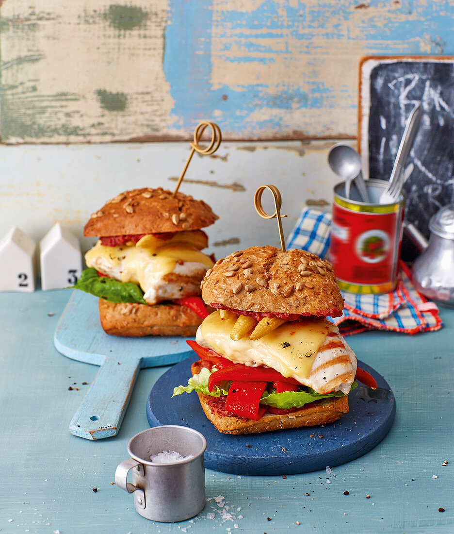 Chicken burger with pepper and sweetcorn