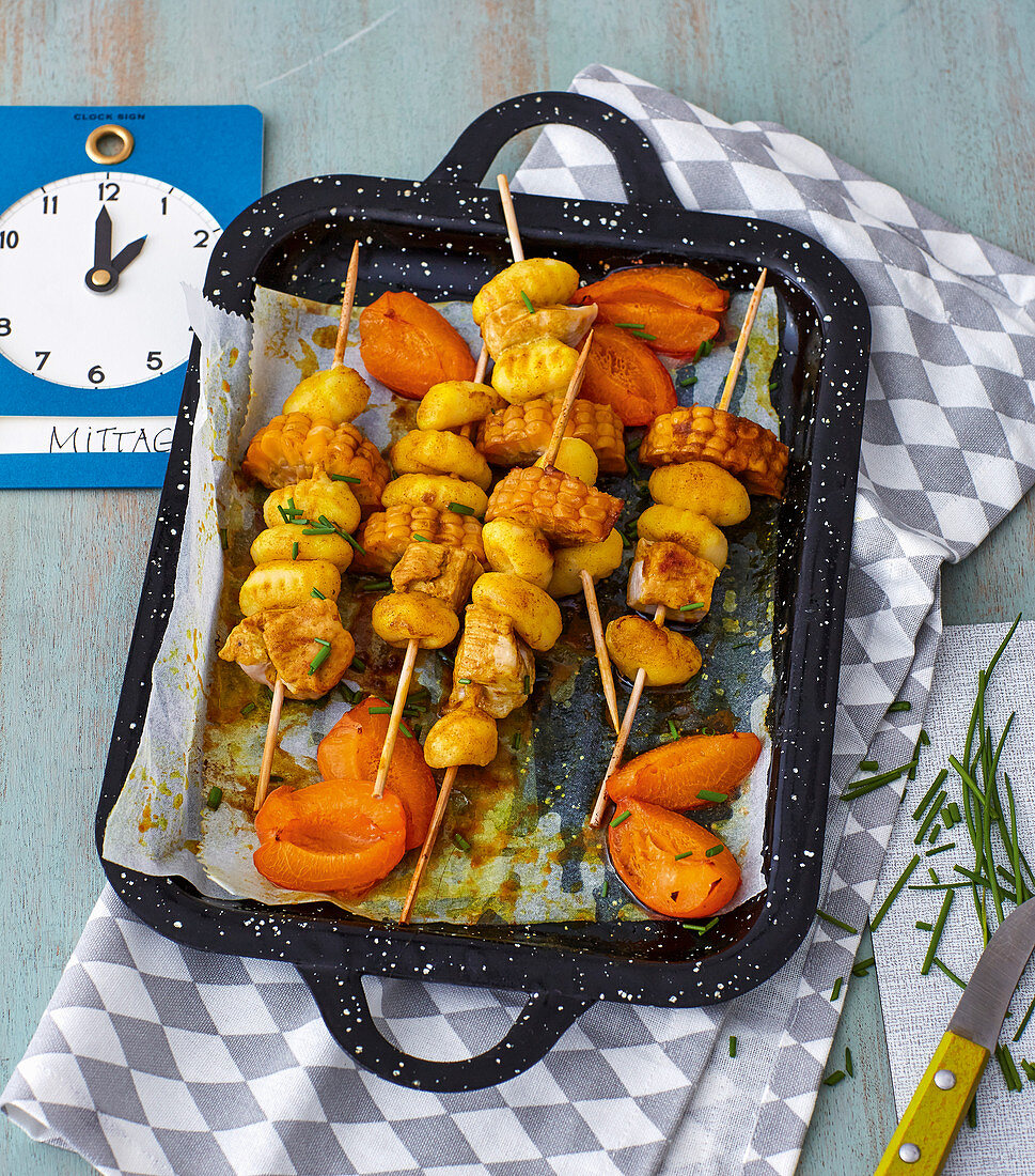 Curried turkey skewers with gnocchi
