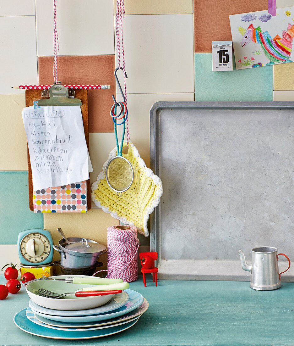 A kitchen scene with colourful crockery