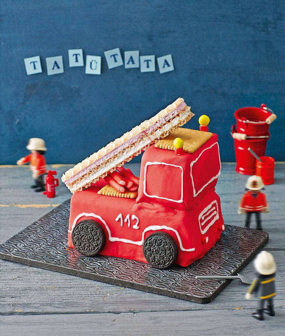 A fire engine birthday cake