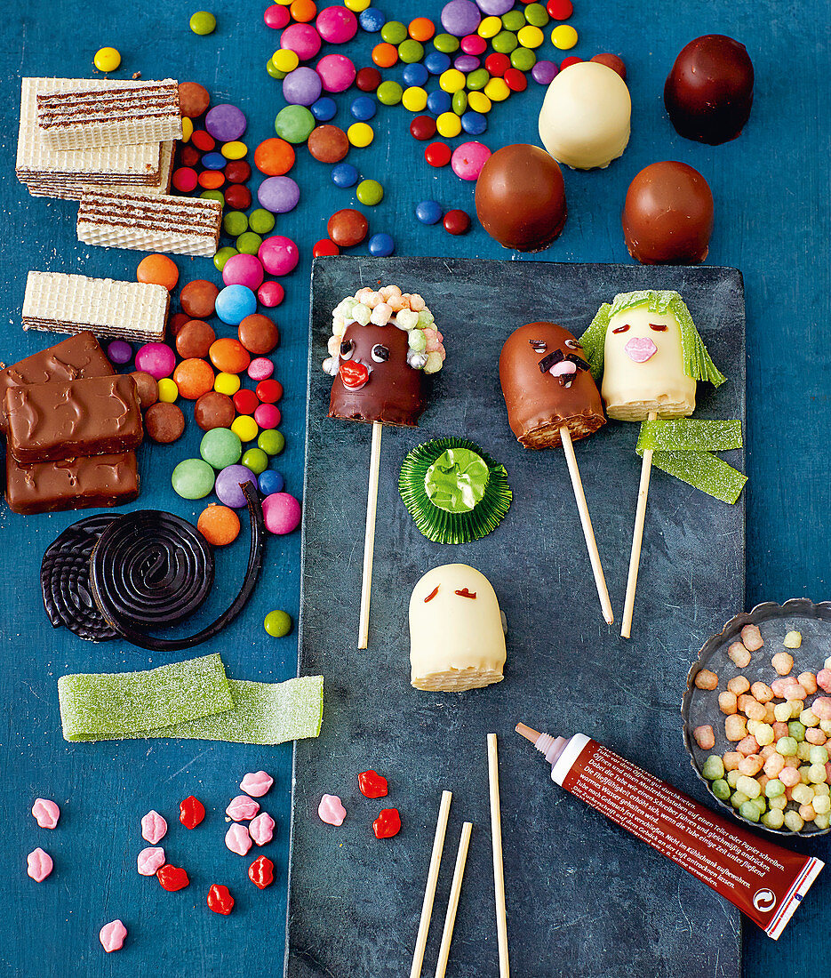 Chocolate marshmallow lollies, Smarties and sweets
