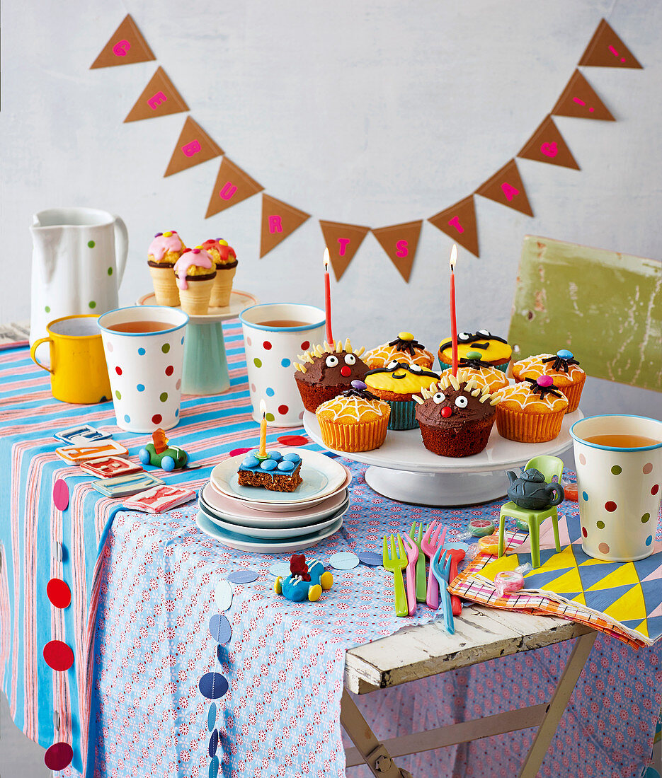 Colourful muffins on a table for a child's birthday party
