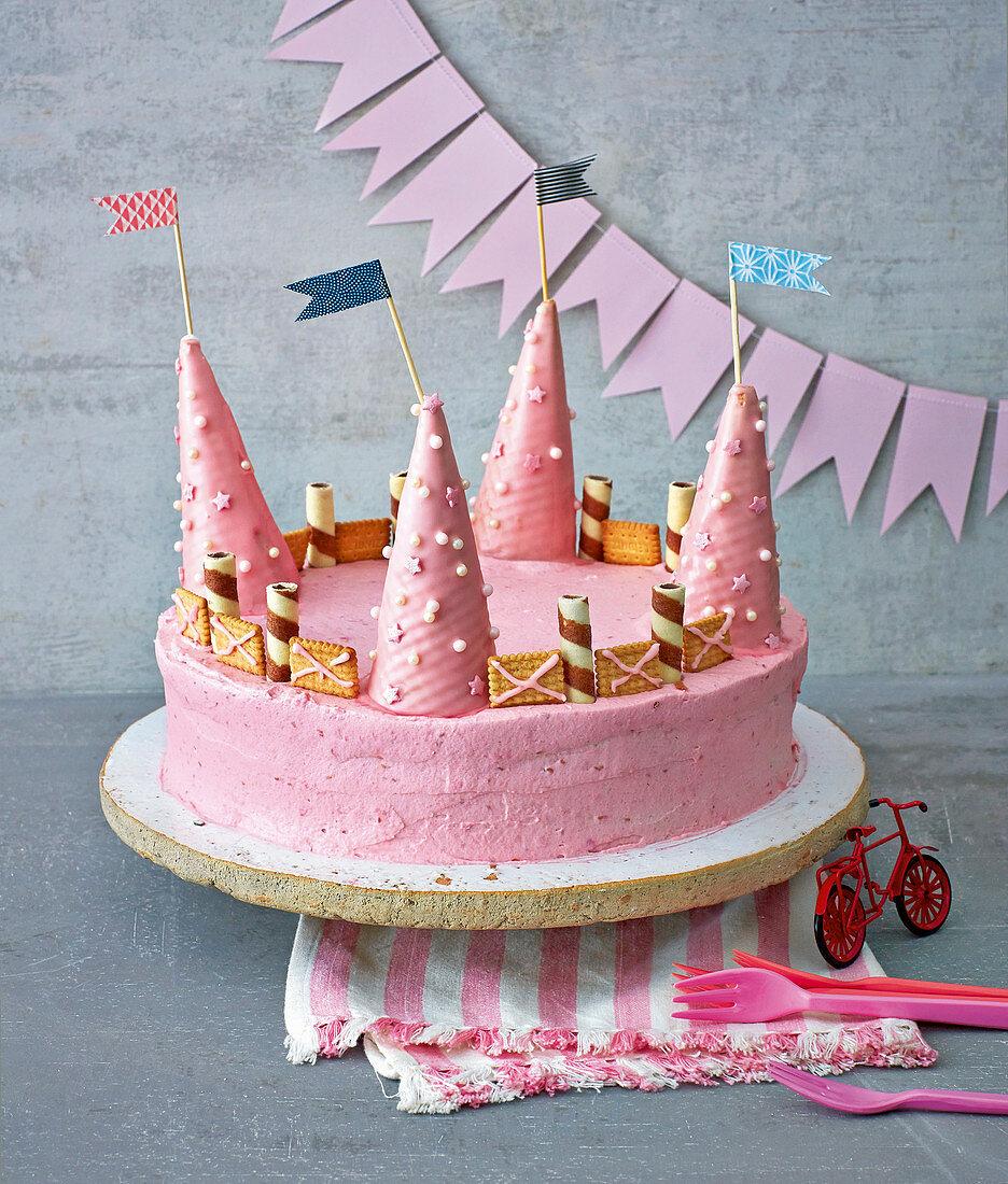 A pink fairytale castle cake