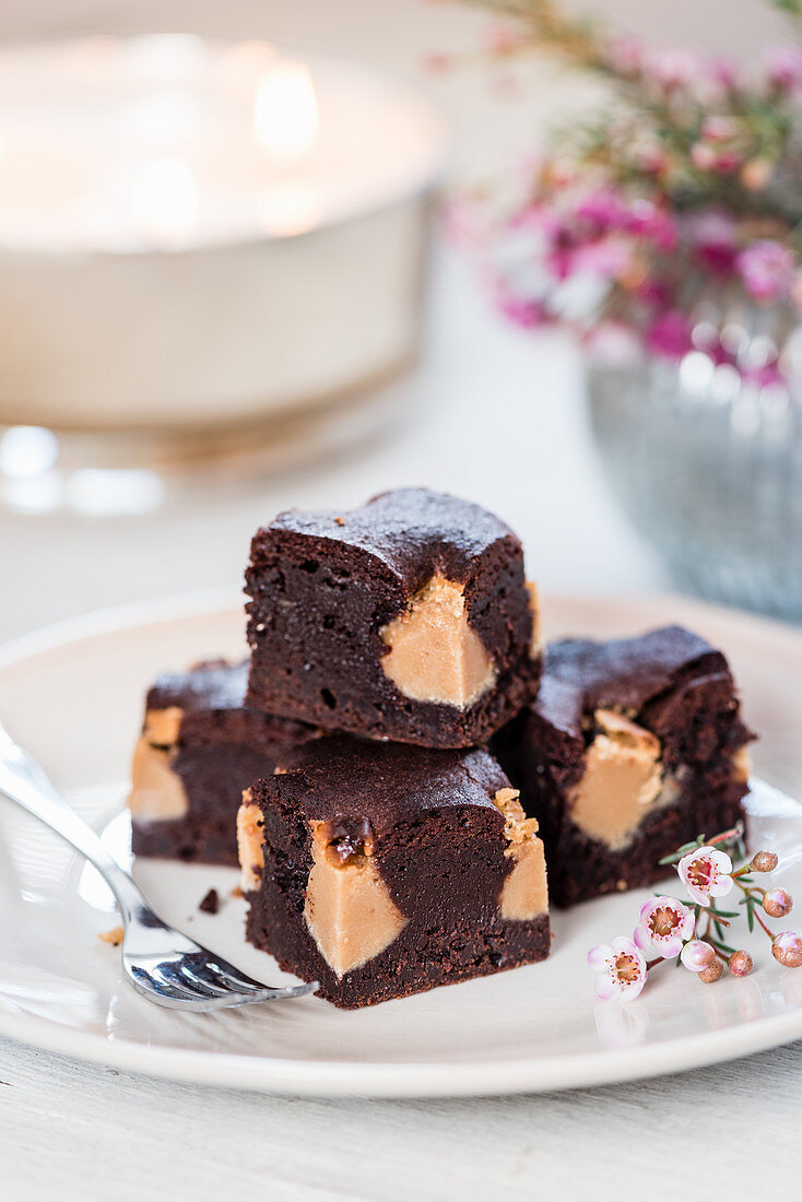 Chocolate fudge brownies for Valentine's Day