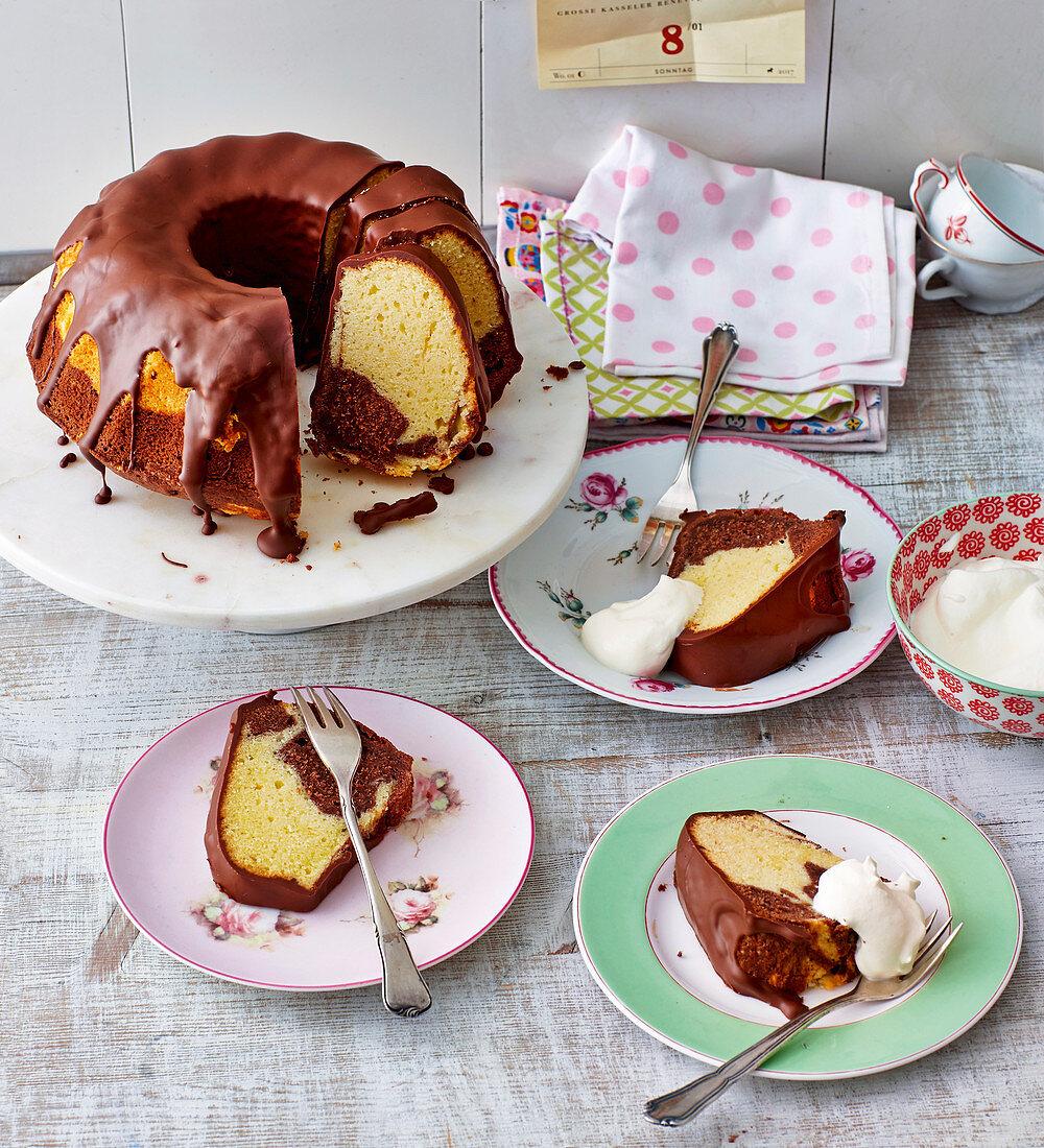 Marble cake with a chocolate glaze