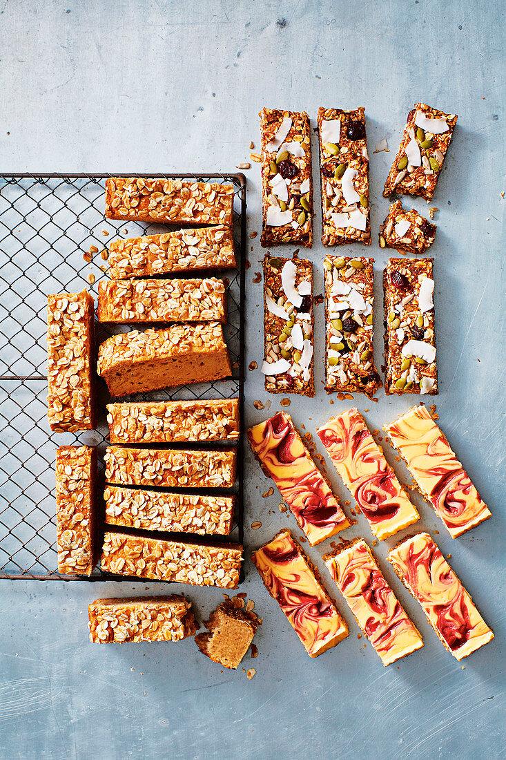 Banana, yoghurt and apple muffin slice, cranberry and orange no-cook slice