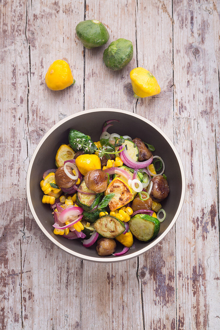 Patty pan squash hash with sweetcorn and chestnuts