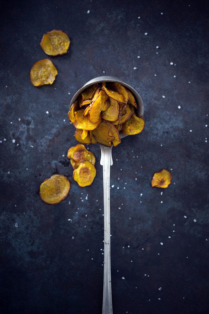 Golden beet crisps with sea salt