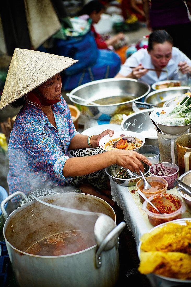 Street food vendors in Saigon