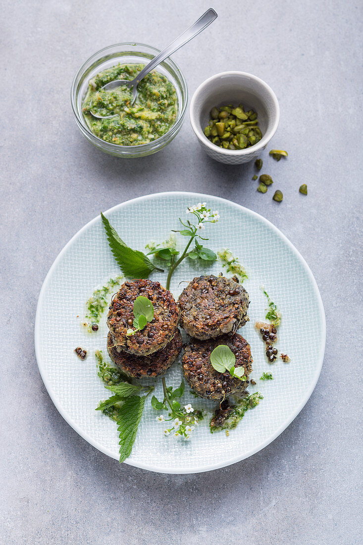 Lentil patties with a wild herb tapenade