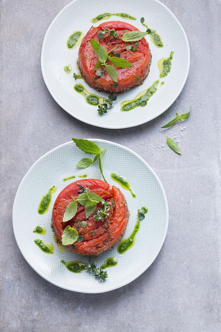 Plum tomato tarte tatin with pesto