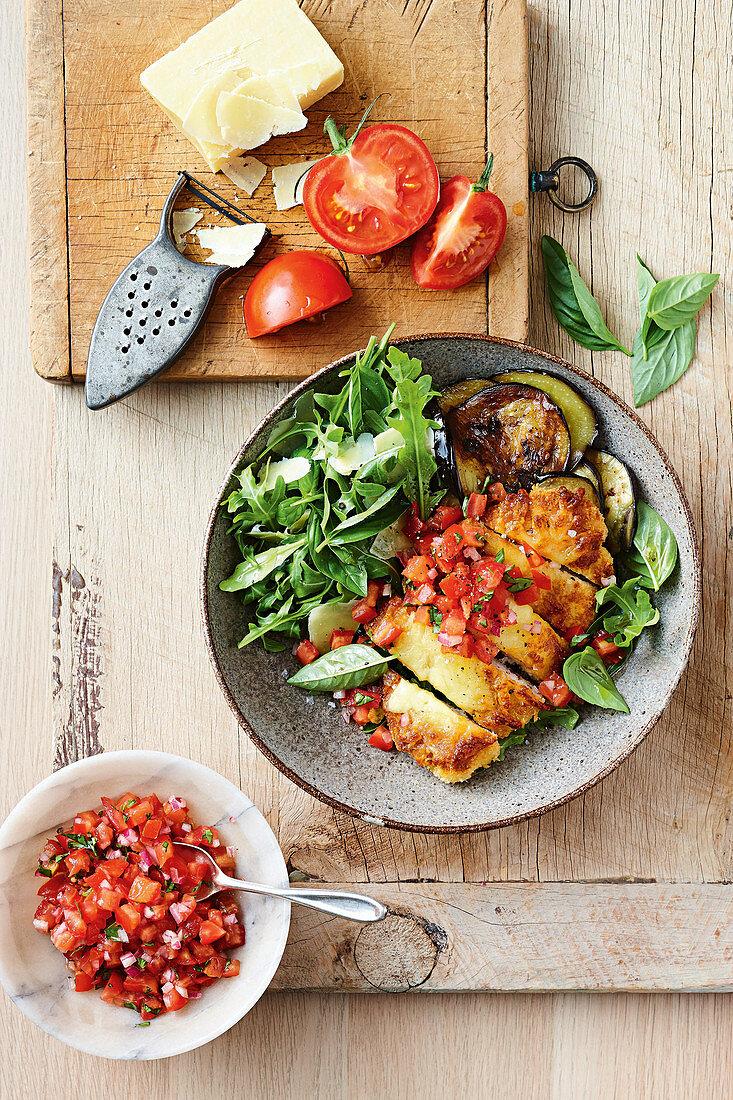 Chicken parmigiana dinner bowl