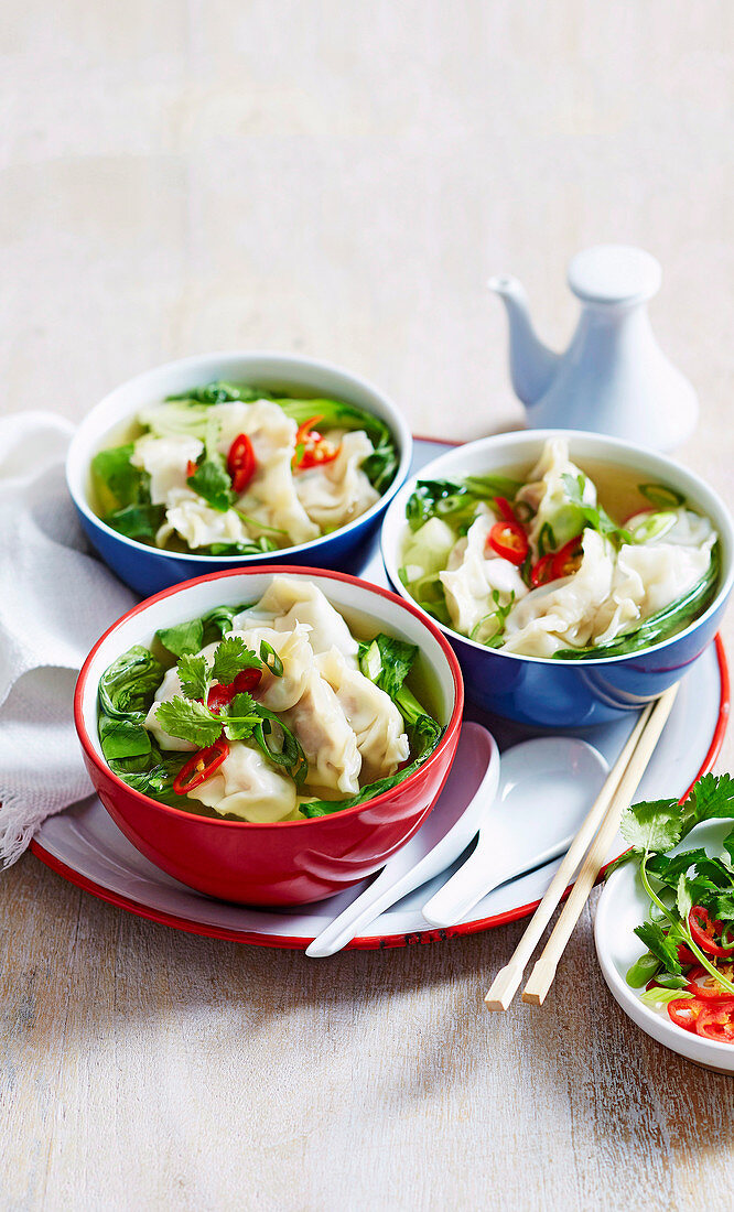 Roast Pork Dumplings with Leftover Wilted Greens Soup