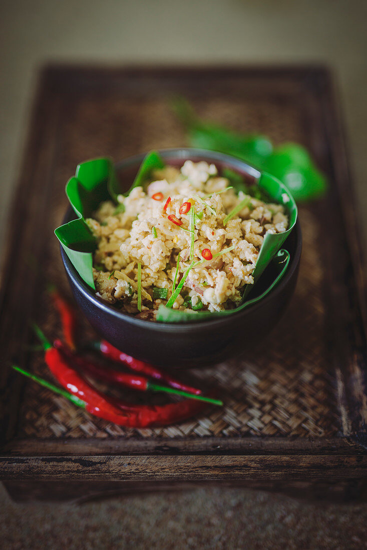Chicken salad with minced meat and chili peppers (Thailand)