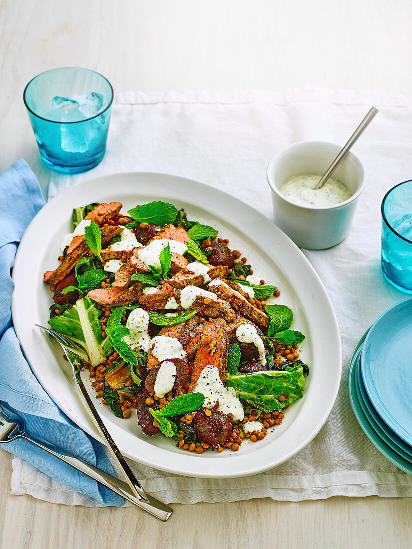 Peppered Lamb with Silverbeet and Lentil Salad