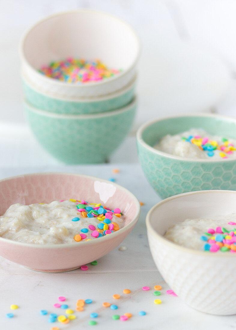 Porridge with colourful sugar sprinkles