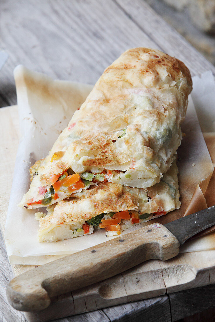Vegetable strudel on baking paper