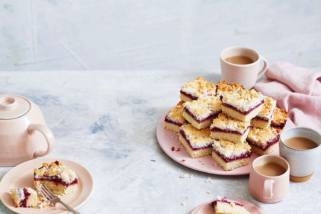 Gluten-free raspberry and coconut slices