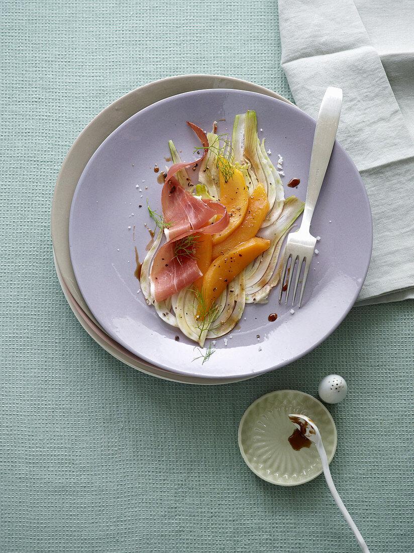 Fennel salad with caramelised mango wedges